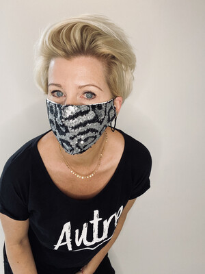 Sequin Non Medical Face Covering -  Silver/black Animal