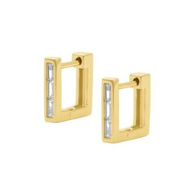 Bella Square Hoops - 18ct Gold
