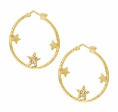 Circle Star Hoops - 18ct Gold