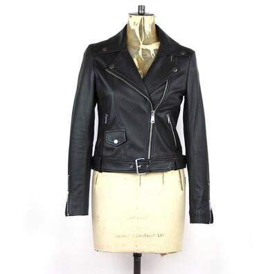 LAB Classic Leather Belted Biker Jacket Black