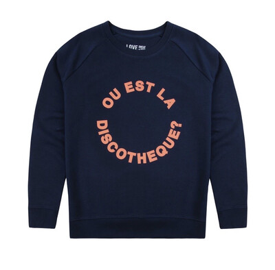 Love Sweat & Tee's - Ou Est La Discotheque?  Navy NEW IN
