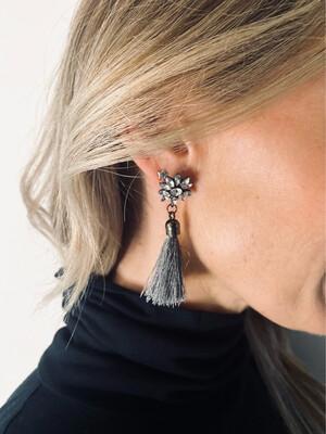 Tassel Earrings - Grey