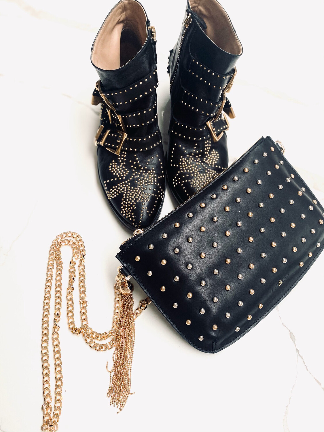 Bell & Fox Ivy Stud Chain Crossbody / Clutch Black