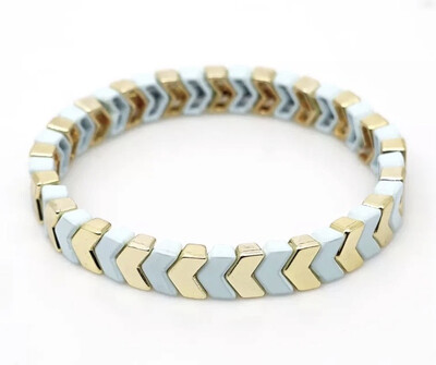 Laviandbelle - Gold/white Chevron Tile Bracelet