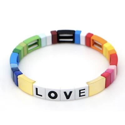 Laviandbelle - Golden Tile Bracelet - LOVE