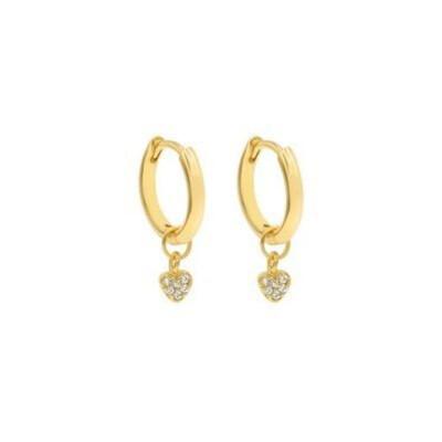 Laviandbelle - 18ct Gold Mini Heart Huggie Hoops