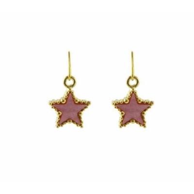 Pink Golden Star Earrings