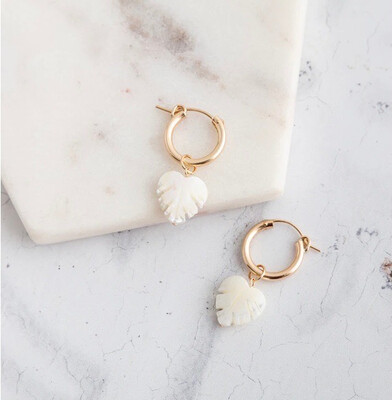 Claire Hill - Chunky Gold And Mother Of Pearl Hoop Earrings