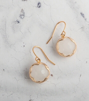 Claire Hill - Wavy Circle Gold Pendant Earrings - White