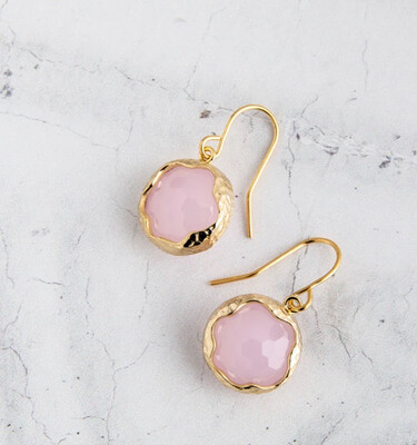 Claire Hill - Wavy Circle Gold Pendant Earrings - Pink