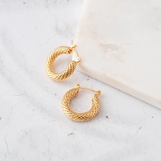 Claire Hill - Chunky Gold Rope Earrings
