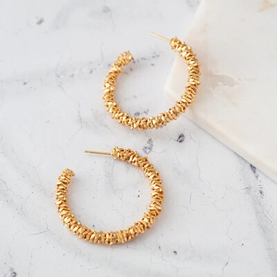 Claire Hill - Large Gold Wrapped Hoop Earrings