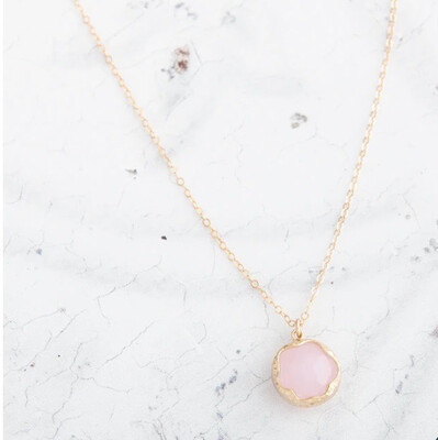 "Claire Hill - Wavy Circle Gold Pendant Necklace 18"" - Pink"