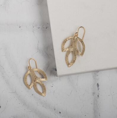 Claire Hill - Minimalist Triple Leaf Gold Earrings