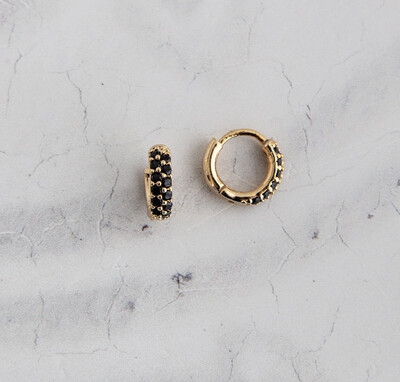 Claire Hill - Black Pave Gold Huggie Earrings