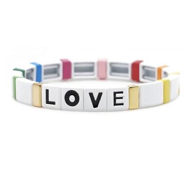 Laviandbelle - White Rainbow Tile Bracelet - LOVE