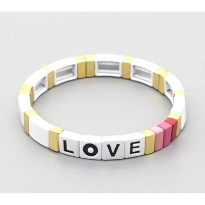 Laviandbelle - White Gold Tile Bracelet - LOVE