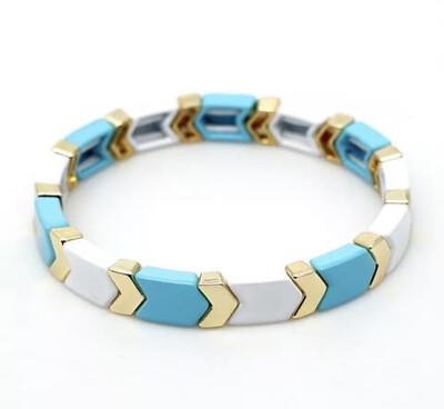Laviandbelle - Aqua/white Chevron Tile Bracelet