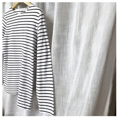 Ivy - Layla Organic Cotton Crew Navy Breton Long Sleeve - Navy/White