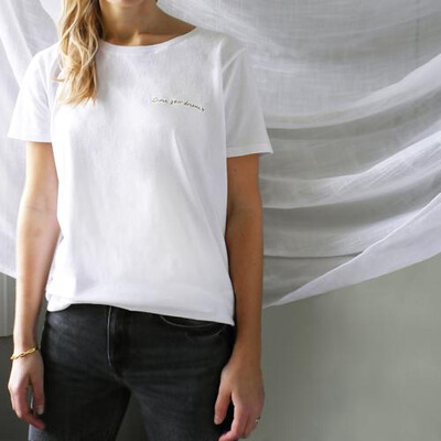 """Ivy - """"Chase Your Dreams"""" Embroidered Charity T - White"""