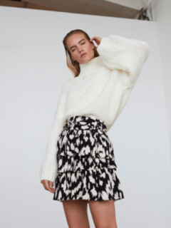 Printed Tiered  Skirt - Black/off White