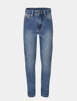 Embroidered Jeans - Blue Mid Wash