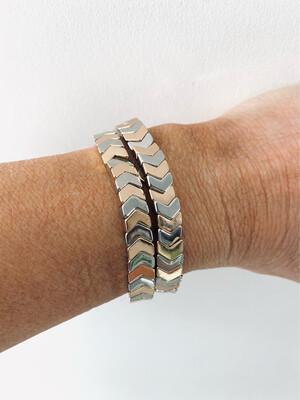 Gold/silver Chevron Tile Bracelet - Gold/silver