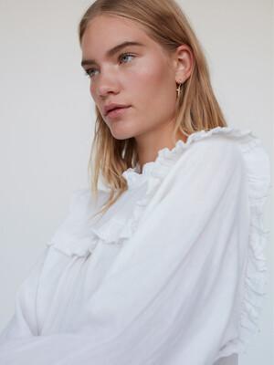 Double Cotton Ruffle Top - White