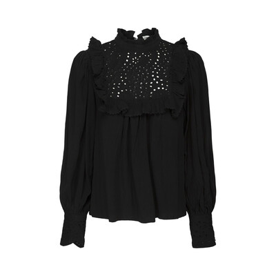 Embroidered Ruffle Crepe Blouse - Black