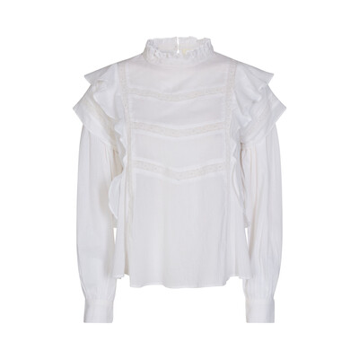 Cotton Lace/frill Trim Shirt Blouse - White
