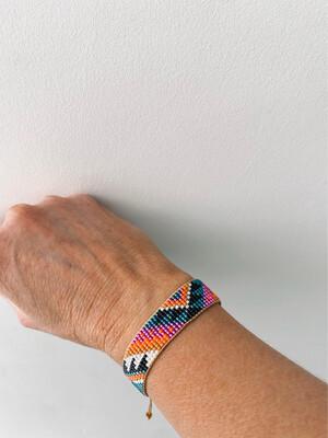 Medium Beaded Adjustable Friendship Bracelet - Green/tan/colour