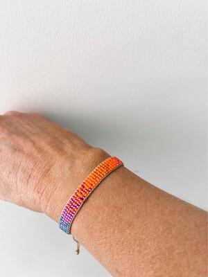Slim Beaded Adjustable Friendship Bracelet - Orange/purple
