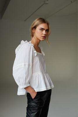 Embroidered Cotton Shirt/Blouse - White