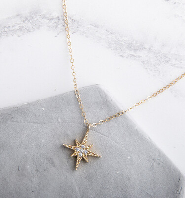 """Claire Hill - Gold North Star Pendant Necklace 16"""""""