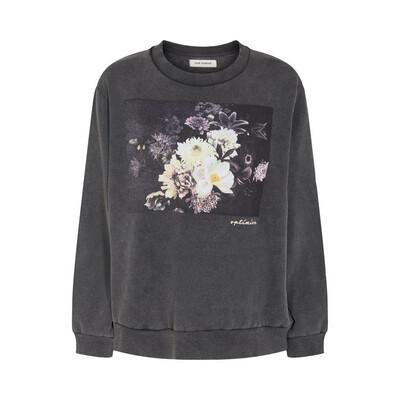 Floral Print Motif Sweatshirt - Washed Black