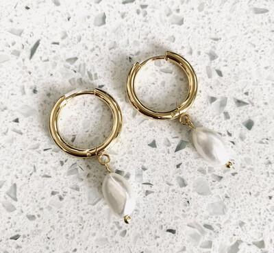 Freshwater Pearl Hugging Hoop Earrings