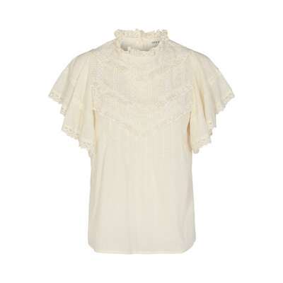 Short Sleeve Cotton Lace Embroidered Blouse - Off White