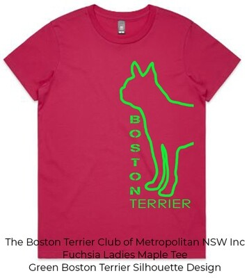 Ladies Maple T-Shirt - Boston Terrier Silhouette Designs