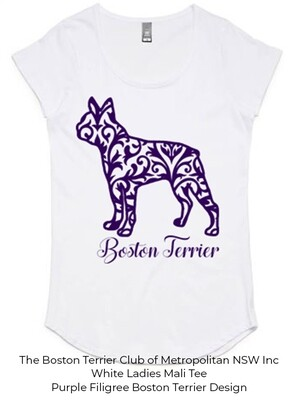 Ladies Mali T-Shirt - Filigree Boston Terrier Designs