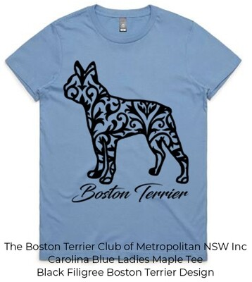Ladies Maple T-Shirt - Filigree Boston Terrier Designs