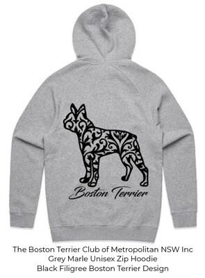 Unisex Standard Zip Hoodie - Filigree Boston Terrier Designs