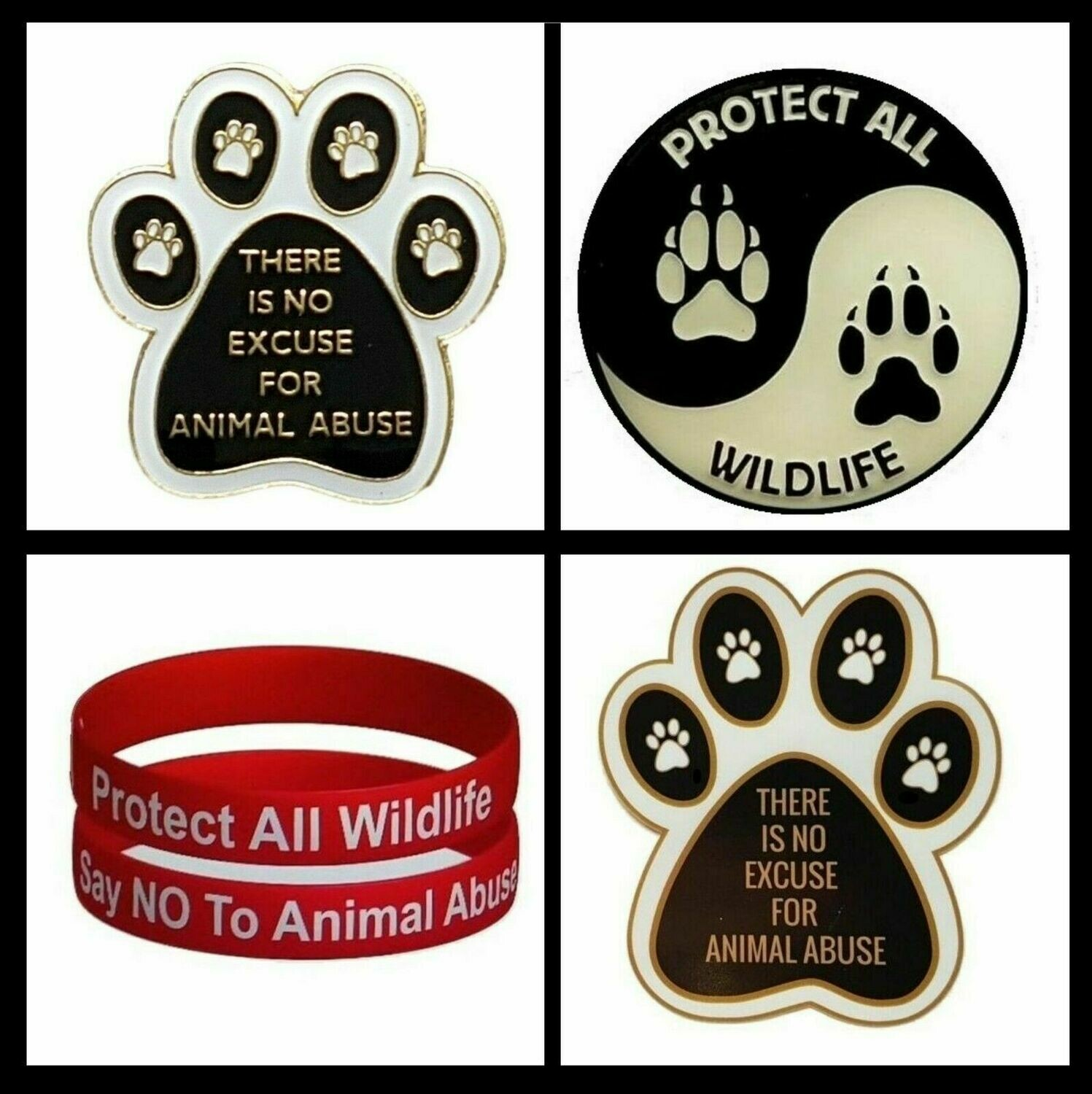PROTECT ALL WILDLIFE CONSERVATION PACK (BADGES, CAR STICKER & WRISTBAND)