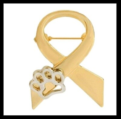 'RIBBON AND PAW' CHARITY PIN BADGE ~ BUY 4 PINS & GET 1 FREE ~ GOLD COLOUR