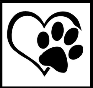 BLACK 'HEART AND PAW' CAR WINDOW STICKER - WILDLIFE CONSERVATION