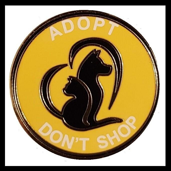 ADOPT DON'T SHOP' ENAMEL PIN BADGES. #LUCYSLAW #ADOPTDONTSHOP