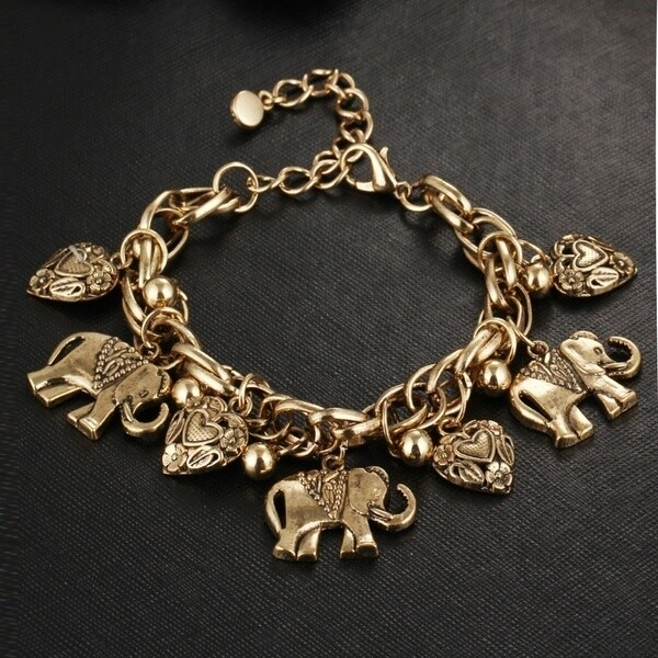 BEAUTIFUL ELEPHANTS AND HEARTS CHARM BRACELET OR ANKLET