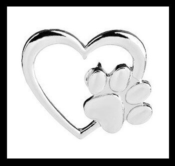 SILVER HEART AND PAW BROOCH FOR CHARITY