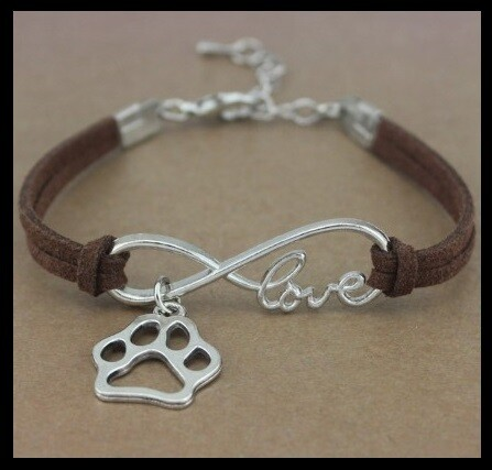 DOG RESCUE SILVER INFINITY DOG PAW AND LOVE CHARM BRACELET