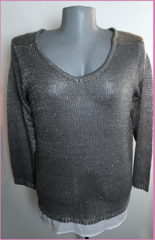 58-as 6XL-es csillogós kötött blúz betétes pulóver