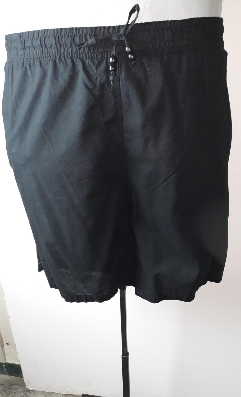 6xl-es 58-as vékony pamutvászon rövid nadrág fekete